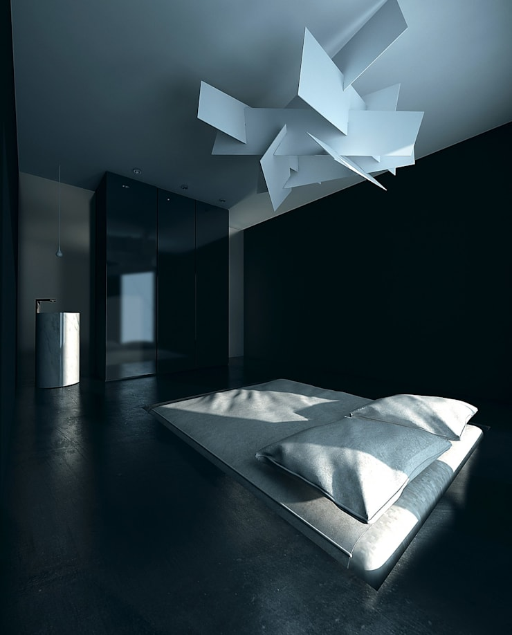 BLACK&WHITE: styl , w kategorii Sypialnia zaprojektowany przez PROSTO architekci