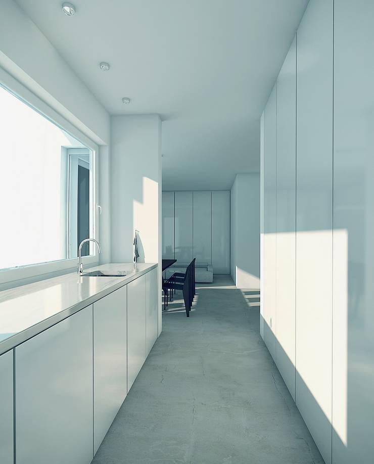 BLACK&WHITE: styl , w kategorii Kuchnia zaprojektowany przez PROSTO architekci