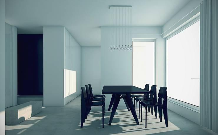 BLACK&WHITE: styl , w kategorii Jadalnia zaprojektowany przez PROSTO architekci