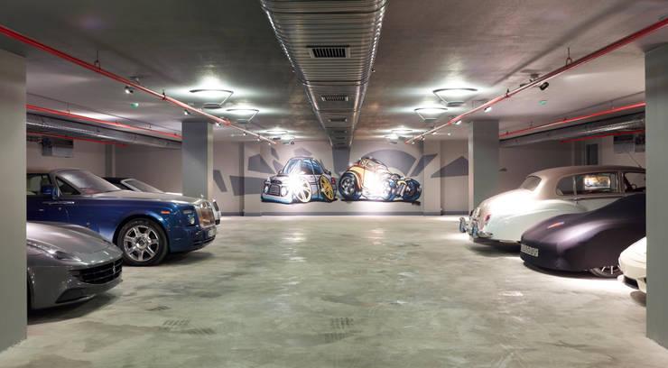 Pimodek Mimari Tasarım - Uygulama – Otopark Genel Görünüm: modern tarz Garaj / Hangar