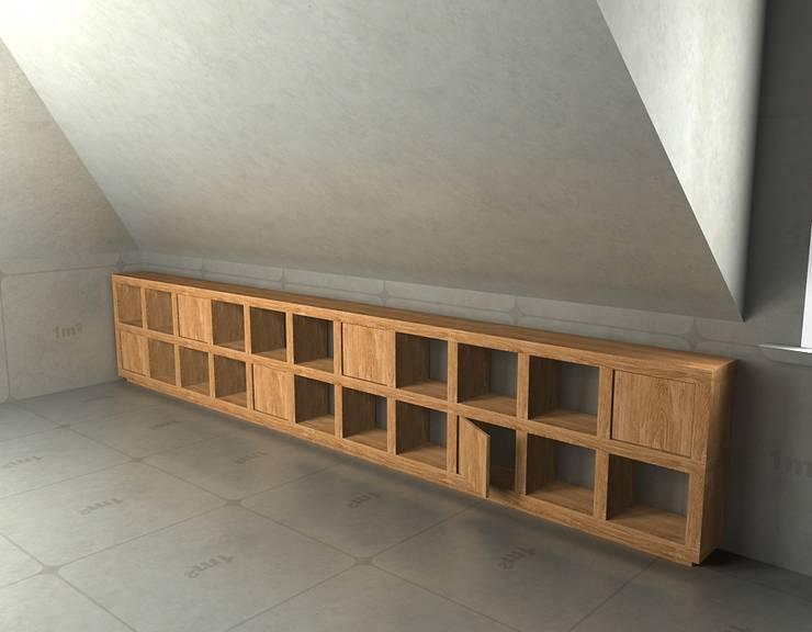Meble na poddasze: styl , w kategorii Pokój multimedialny zaprojektowany przez Cellaio,Nowoczesny