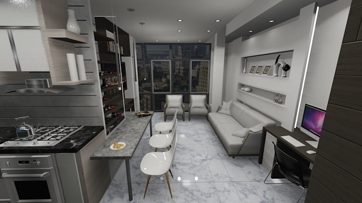 COMEDOR ESTAR TV, APARTAMENTO EN TENERIFE, ESPAÑA: Salas/Recibidores de estilo  por Grupo JOV Arquitectos