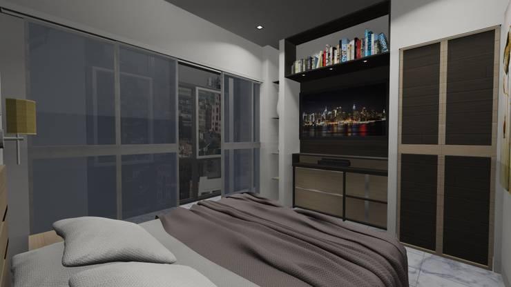 DORMITORIO, APARTAMENTO EN TENERIFE, ESPAÑA: Dormitorios de estilo  por Grupo JOV Arquitectos