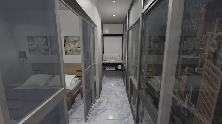 PASILLO, APARTAMENTO EN TENERIFE, ESPAÑA: Vestíbulos, pasillos y escaleras de estilo  por Grupo JOV Arquitectos