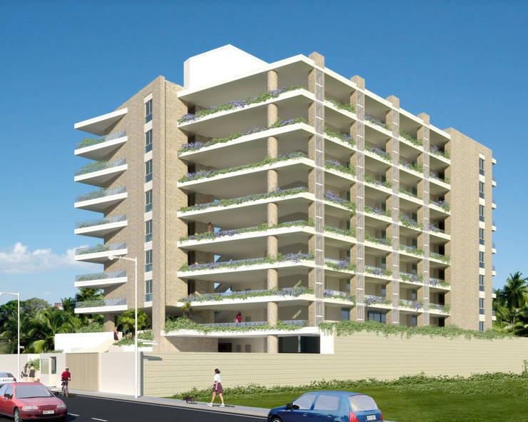FACHADA PRINCIPAL REDIDENCIA ABISAI SUITES: Casas de estilo  por Grupo JOV Arquitectos