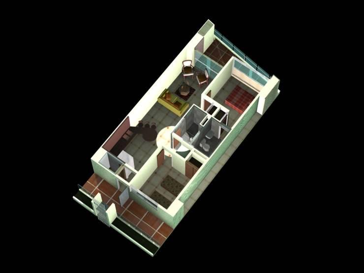 MODELO DE APARTAMENTO TIPO D  REDIDENCIAS ABISAI SUITES: Salas / recibidores de estilo  por Grupo JOV Arquitectos