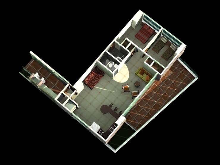 MODELO DE APARTAMENTO TIPO F  REDIDENCIA ABISAI SUITES: Salas / recibidores de estilo  por Grupo JOV Arquitectos