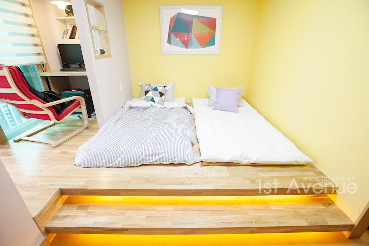 개성있는 침실이 있는 왕십리 인테리어: 퍼스트애비뉴의  침실,모던