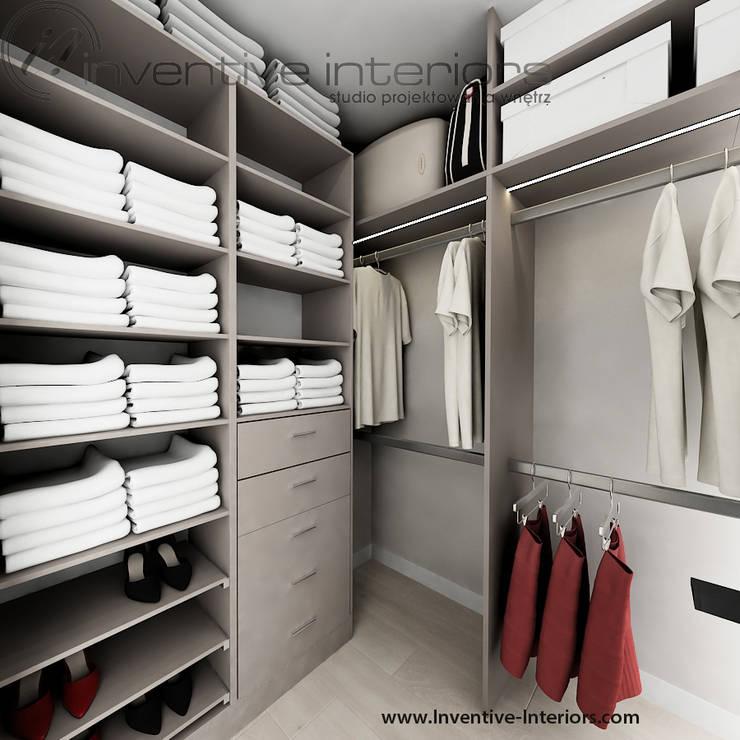Kobieca garderoba w beżach: styl , w kategorii Garderoba zaprojektowany przez Inventive Interiors,Nowoczesny
