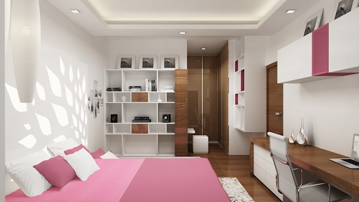Daughter's Bedroom-View 01:  Bedroom by De Panache  - Interior Architects