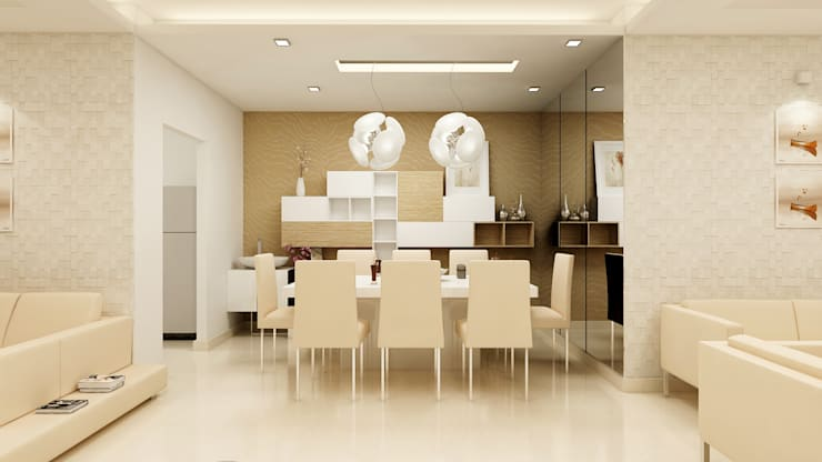 PRESTIGE GARDEN BAY, YELAHANKA, BANGALORE. (www.depanache.in):  Dining room by De Panache  - Interior Architects