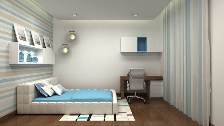 PRESTIGE GARDEN BAY, YELAHANKA, BANGALORE. (www.depanache.in):  Bedroom by De Panache  - Interior Architects