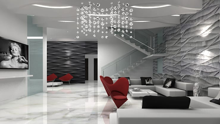 RESIDENTIAL INTERIOR, MYSORE. (www.depanache.in):  Living room by De Panache  - Interior Architects