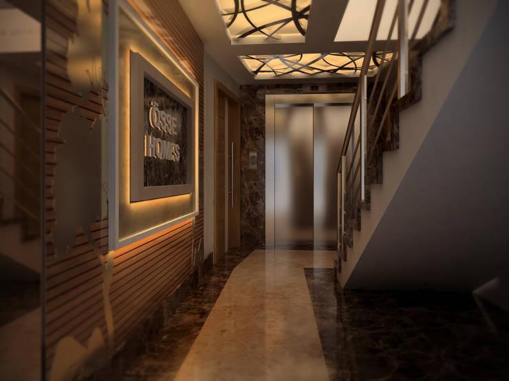 ömer kavak mühendislik ve danışmanlık hizmetleri – össe homes iç mekan:  tarz Koridor, Hol & Merdivenler