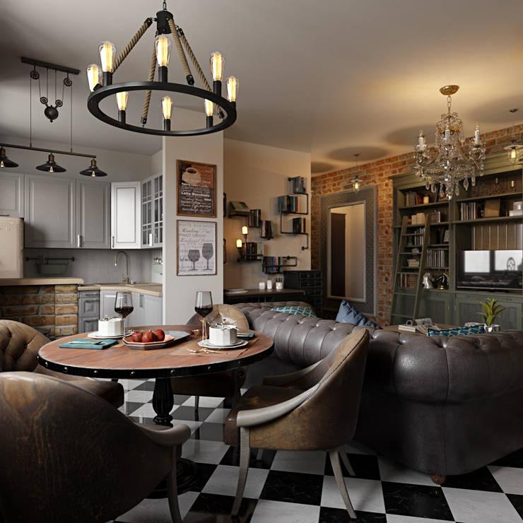 Интерьер квартиры 40 кв.м. в Мурманске: Гостиная в . Автор – Студия дизайна интерьера Маши Марченко