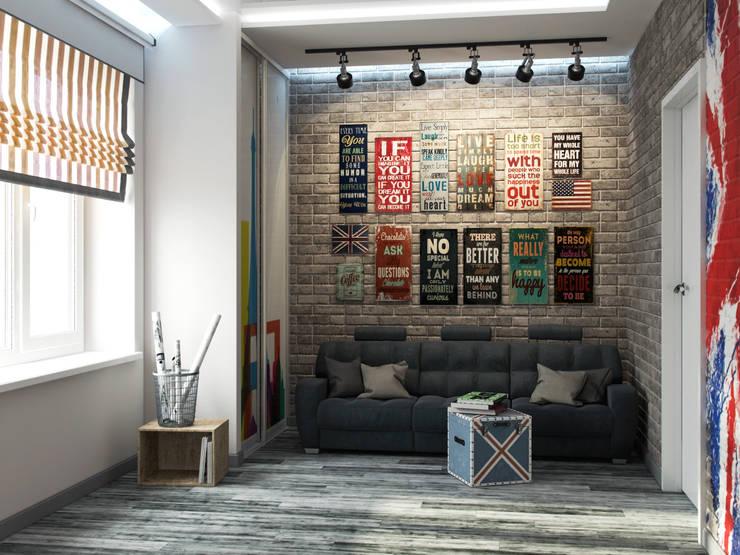 Salas de estilo industrial por Студия дизайна интерьера Маши Марченко