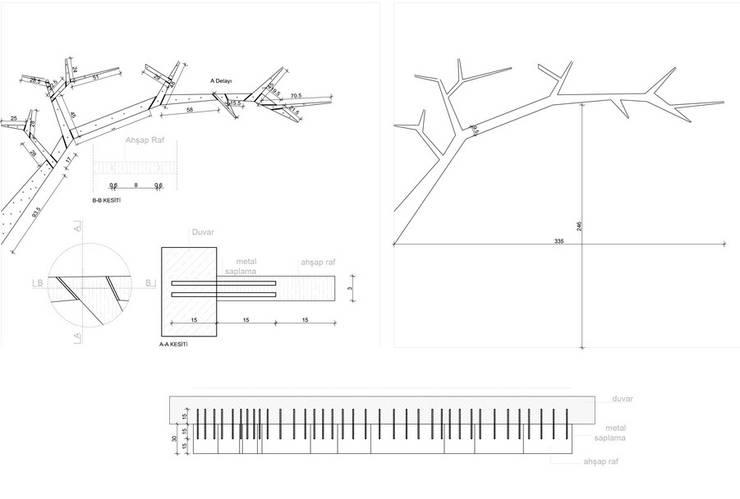 MAHAL MİMARLIK / MAHAL ARCHITECTS – ağaç kitaplık:  tarz Ofis Alanları & Mağazalar