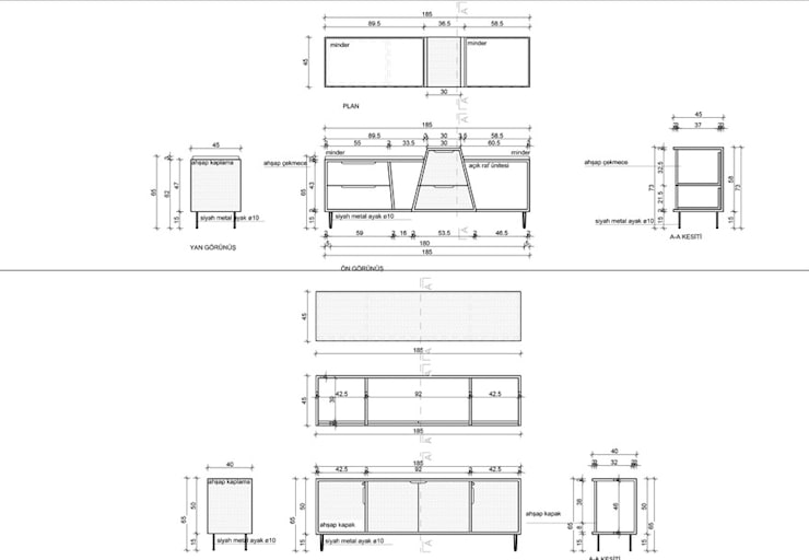 MAHAL MİMARLIK / MAHAL ARCHITECTS – dolap teknik çizim:  tarz Ofis Alanları & Mağazalar