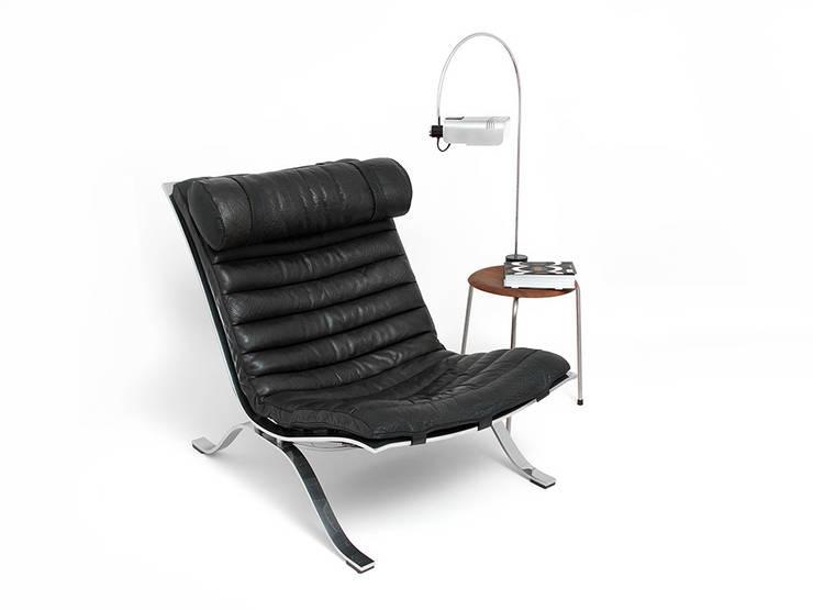 """Lounge chair """"ARI"""" projekt Arne Norell: styl , w kategorii  zaprojektowany przez Simply Modern,Skandynawski Skóra Szary"""
