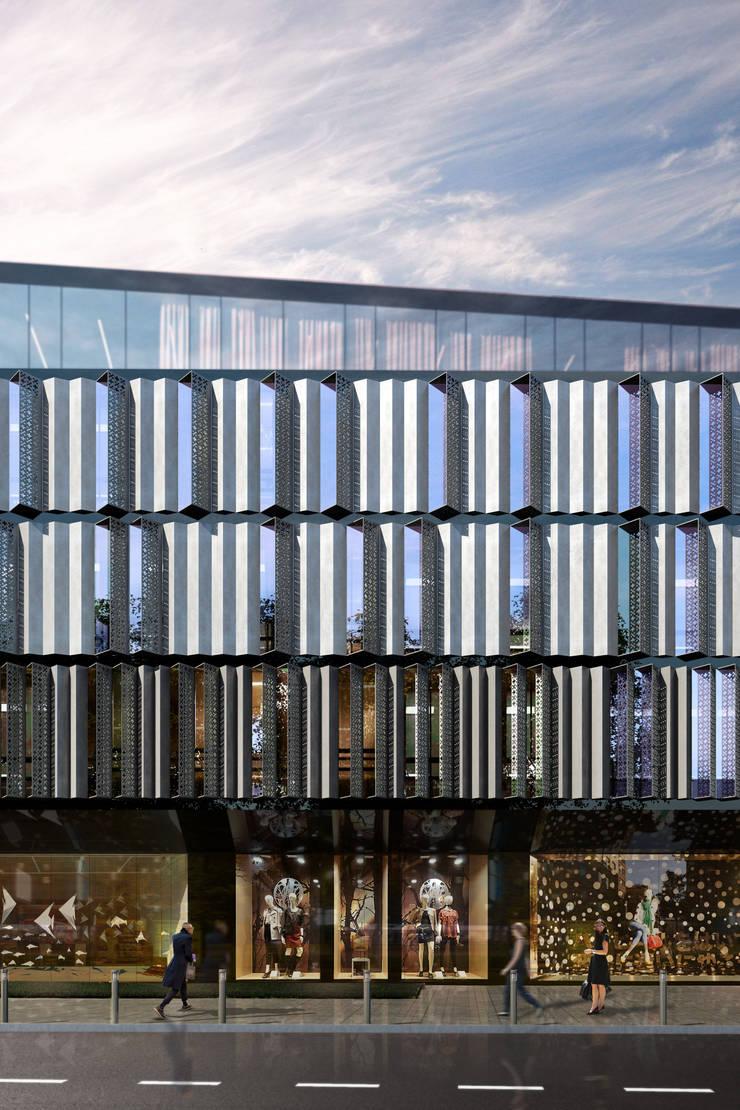 Rozbudowa i adaptacja zabytkowego obiektu: styl , w kategorii Powierzchnie handlowe zaprojektowany przez Q2STUDIO,Nowoczesny