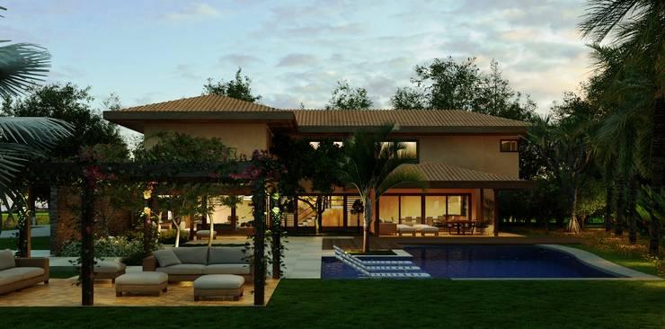 Casa Haras Larissa 1 - Santorini    Vista Frontal: Casas  por Eduardo Novaes Arquitetura e Urbanismo Ltda.,Moderno