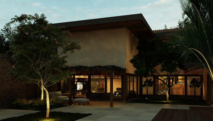 Casa Haras Larissa 1 - Santorini    Pergolado Estar Home Theater: Terraços  por Eduardo Novaes Arquitetura e Urbanismo Ltda.,Moderno