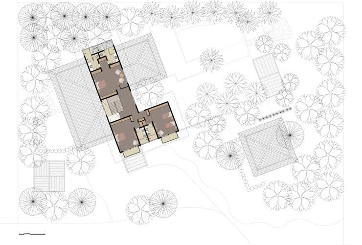 Casa Haras Larissa 1 - Santorini  I  Planta do Pav. Superior: Quartos  por Eduardo Novaes Arquitetura e Urbanismo Ltda.,Moderno