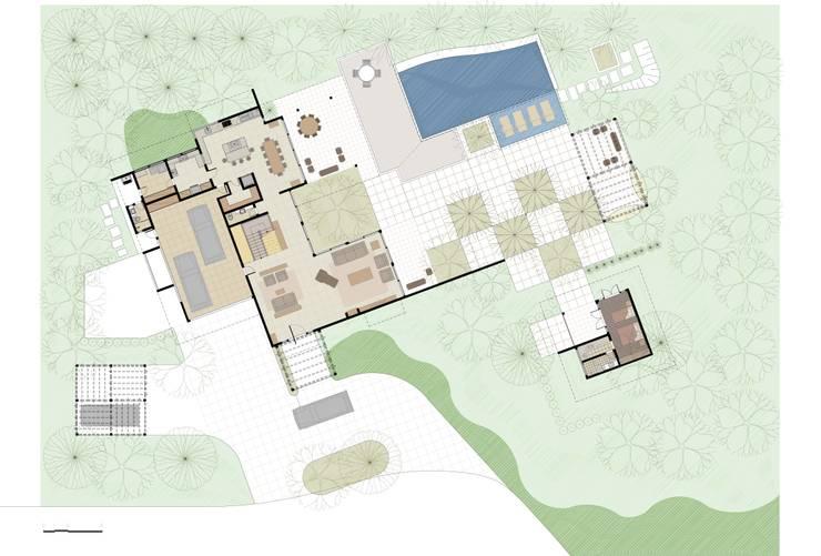 Casa Haras Larissa 1 - Santorini    Implantação e Planta do Pav. Térreo: Salas de estar  por Eduardo Novaes Arquitetura e Urbanismo Ltda.,Moderno