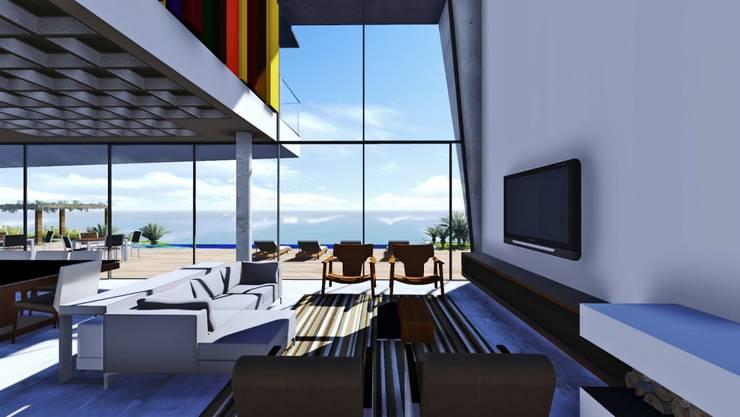 Casa na SC 401: Salas de estar  por Mantovani e Rita Arquitetura