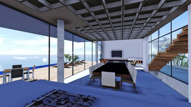 Casa na SC 401: Salas de jantar  por Mantovani e Rita Arquitetura
