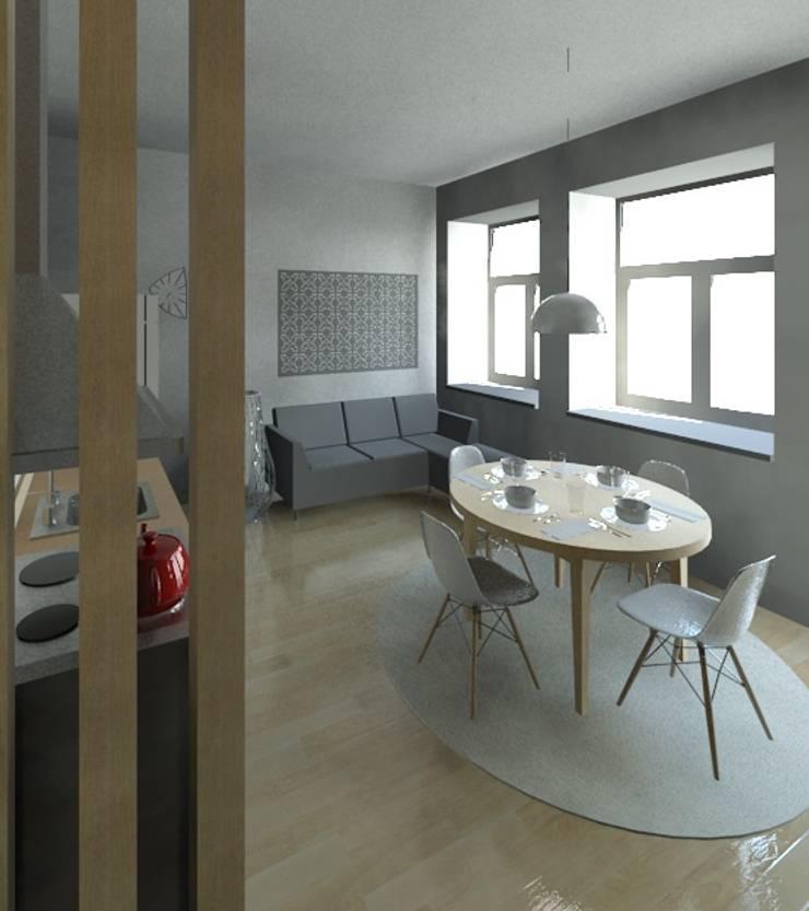 Sala e Kitchenette: Salas de estar  por Marta d'Alte Arquitetura