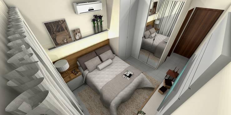 Quarto Casal: Quarto  por Aline Falci Arquitetura  e Interiores