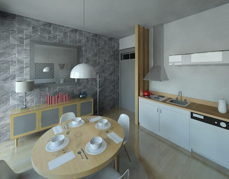 Sala/kitchenette: Salas de estar  por Marta d'Alte Arquitetura