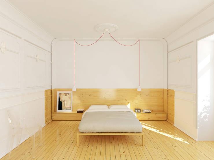 Remodelação de apartamento na Estrela, em Lisboa, de Aurora Arquitectos: Quartos  por AURORA ARQUITECTOS