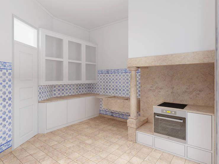 Remodelação de apartamento na Estrela, em Lisboa, de Aurora Arquitectos: Cozinhas  por AURORA ARQUITECTOS