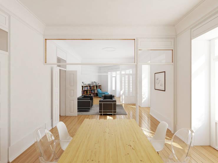 Remodelação de apartamento na Estrela, em Lisboa, de Aurora Arquitectos: Salas de jantar  por AURORA ARQUITECTOS