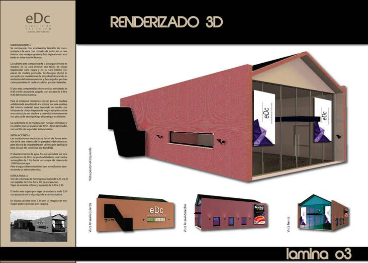 RENDER PEATONAL Salas multimedia industriales de CubiK Industrial Ladrillos