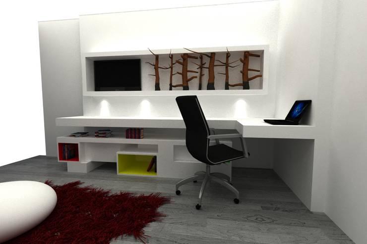 ESCRITORIO: Estudio de estilo  por santiago dussan architecture & Interior design