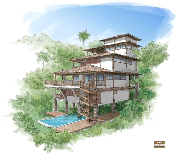 RESIDÊNCIA AP: Casas  por MADUEÑO ARQUITETURA & ENGENHARIA,Rústico Madeira Efeito de madeira