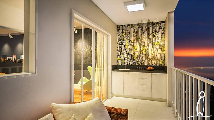 Residência Jovem Casal - Varanda Gourmet:   por Leben Arquitetura