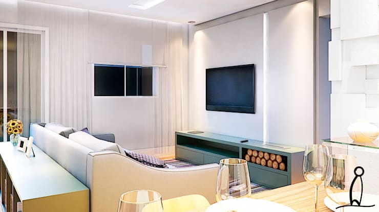 Residência Jovem Casal - Sala :   por Leben Arquitetura