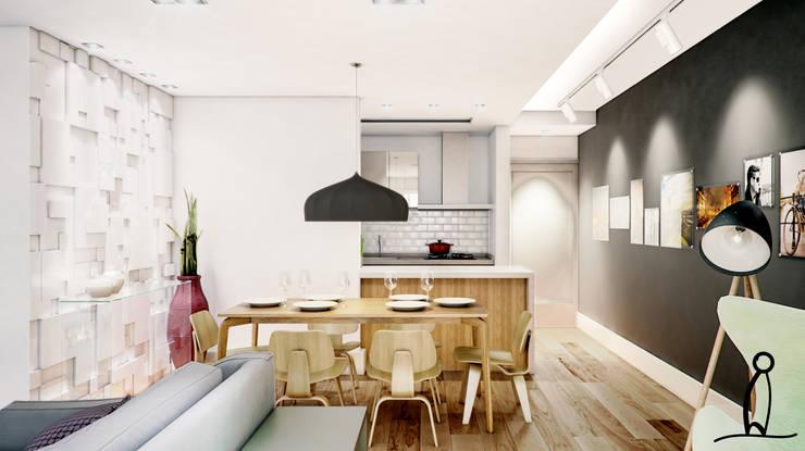 Residência Jovem Casal - Sala:   por Leben Arquitetura