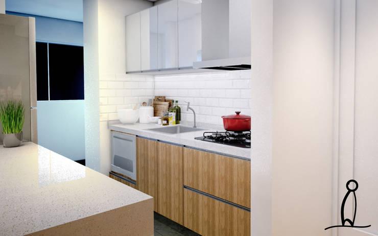 Residência Jovem Casal - Cozinha por Leben Arquitetura