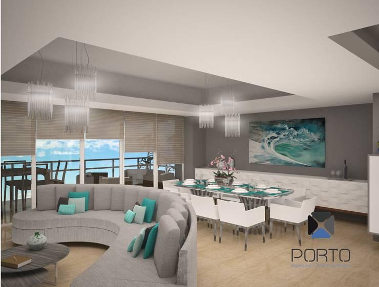 Proyecto Penthouse Bahía de Acapulco: Comedores de estilo  por PORTO Arquitectura + Diseño de Interiores