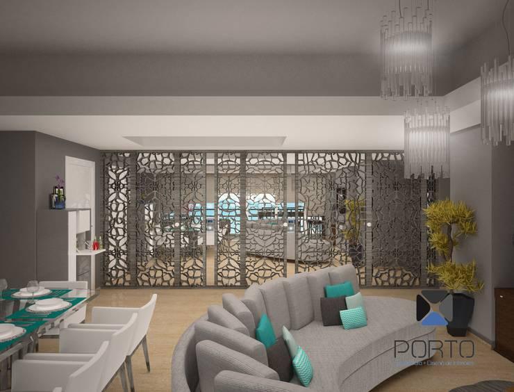 Proyecto Penthouse Bahía de Acapulco: Salas de estilo  por PORTO Arquitectura + Diseño de Interiores
