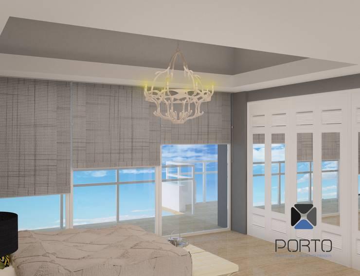 Proyecto Penthouse Bahía de Acapulco: Recámaras de estilo  por PORTO Arquitectura + Diseño de Interiores