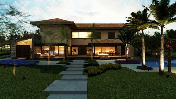 Casa Haras Larissa 2 – Kythnos    Vista Frontal: Casas  por Eduardo Novaes Arquitetura e Urbanismo Ltda.