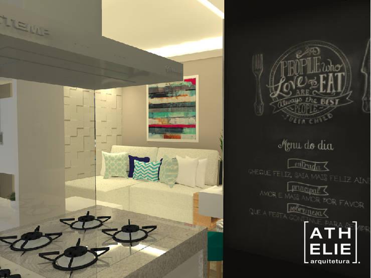Sala de Estar e Cozinha [Living and kitchen]: Salas de estar modernas por ATHeliê Arquitetura
