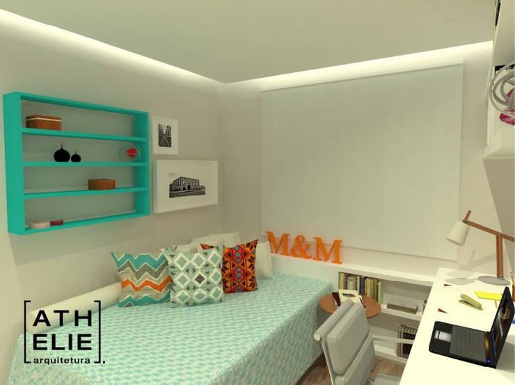 Home office/ Quarto de hóspedes [ Home Office/Guest Bedroom]: Quartos  por ATHeliê Arquitetura