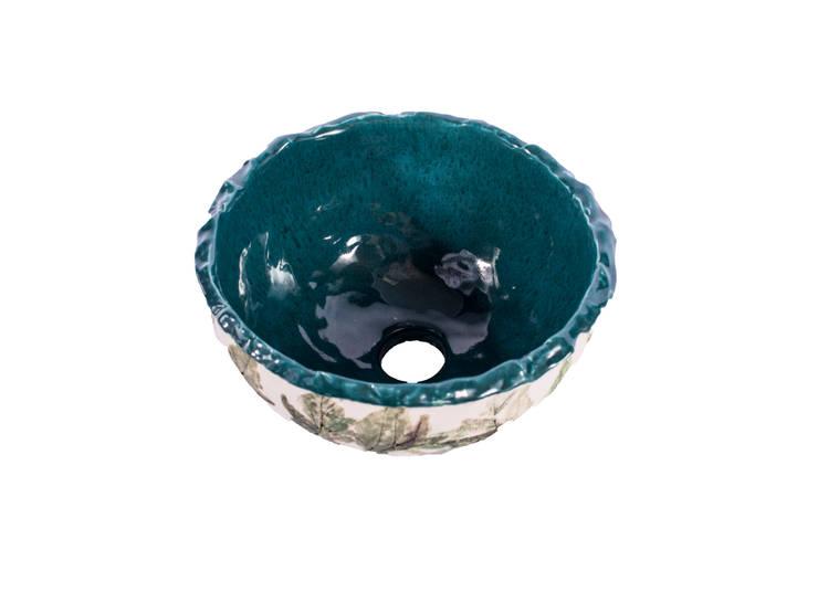 Cuba Bowl Folhagem Clássica com Jade : Banheiro  por Atelier Daniele Drummond,